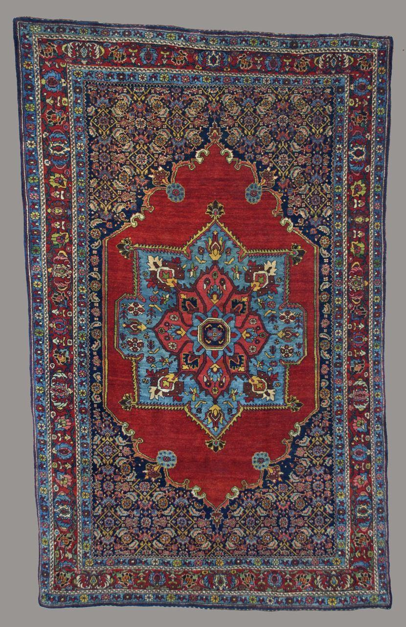 A Fine Antique Bidjar Rug With Sky