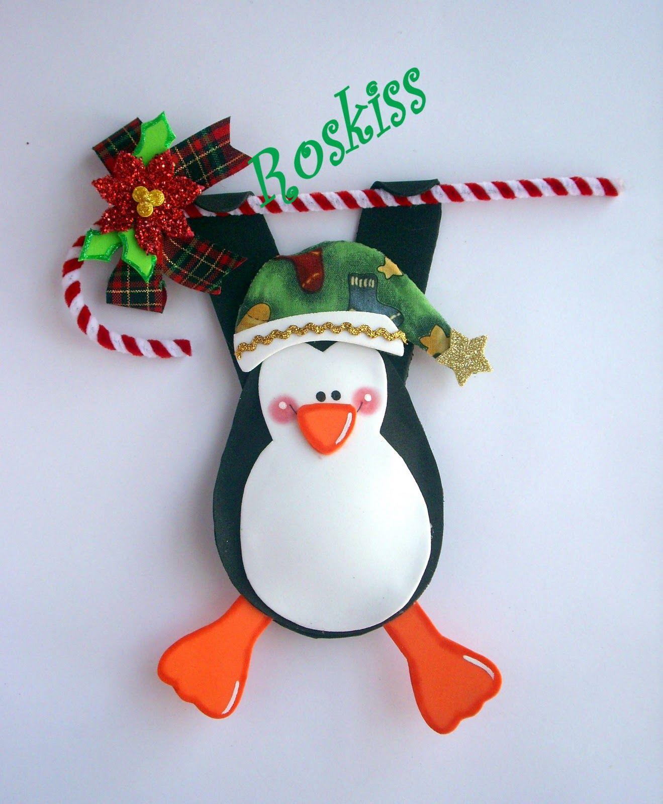 resultado de imagen para pinguinos navideños en foami fieltro