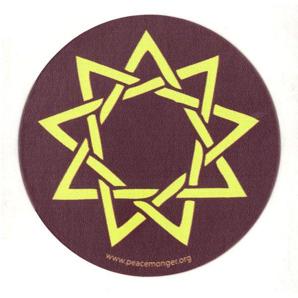 Ms191 Nine Point Star Bahai Single Symbol Mini Sticker Other
