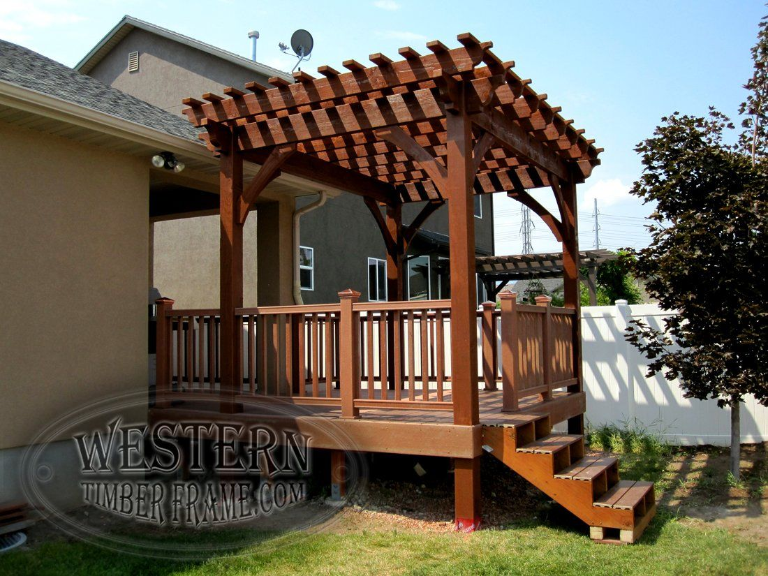 Free Standing Pergola With Rich Sequoia Stain And Champion Profile.  Attached Deck, Handrail,