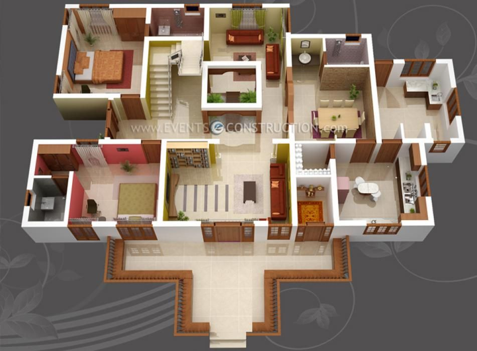 house 3D plan 2 bed 3
