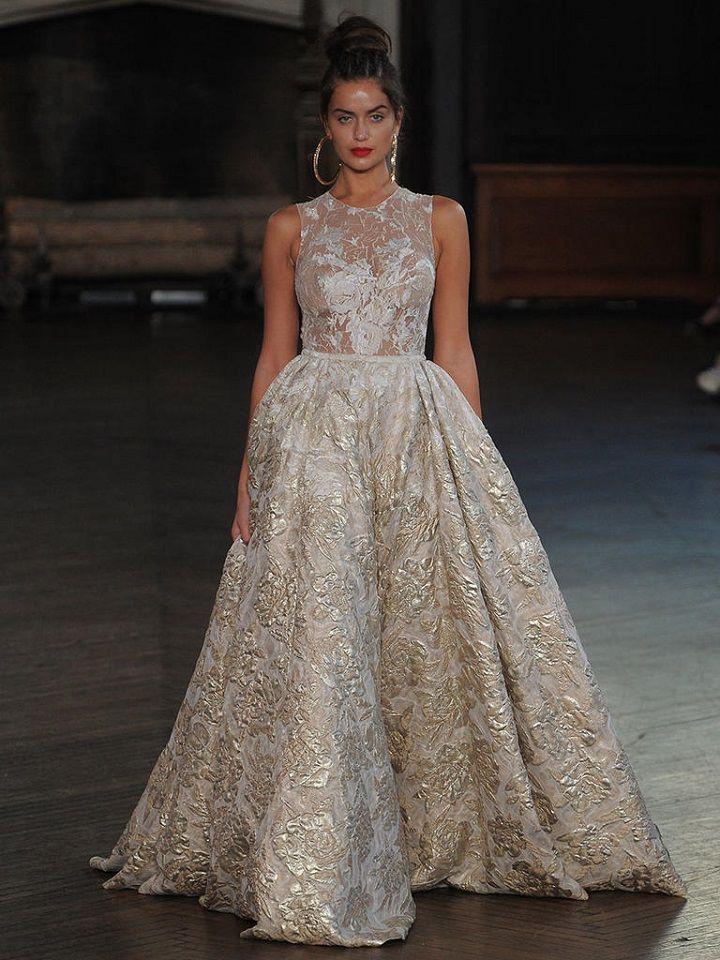 Berta A-line wedding gown with metallic floral fabric | itakeyou.co.uk #wedding #weddingfashion #bridal #weddingdress #weddinggown #bridalgown #weddingdresses #weddinggowns #berta #bridalinspiration #weddinginspiration #engaged