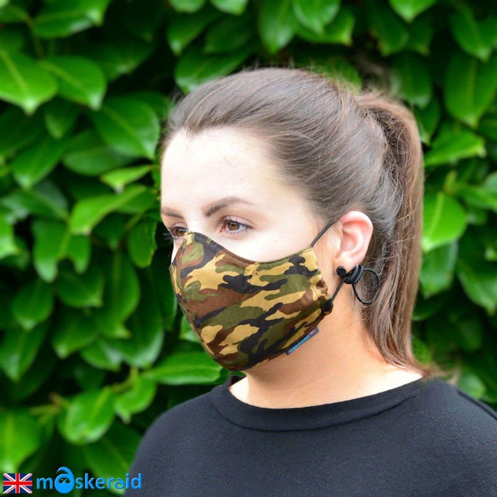 Maskeraid Camouflage Wiederverwendbare Baumwolle Etsy In 2020 Gesichtsmaske Diy Gesichts Masken Masken