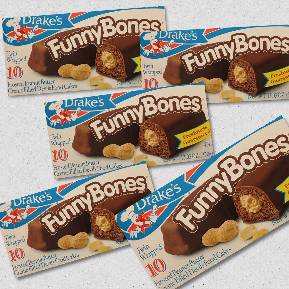 Drakes funny bones peanut butter filled cake frosted