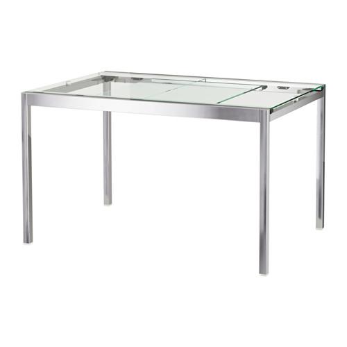 Glivarp Extendable Table Transparent Chrome Plated 125 188x85 Cm Chrome Dining Table Glass Table Glass Top Table