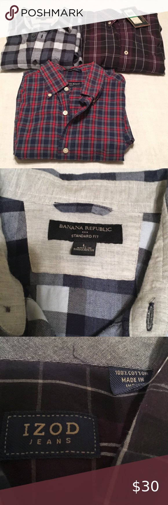 3 Men S Shirts A 34 3 Men S Shirts All For One Price Austin Reed Of London Banana Republic Izod Various Shirts Casual But Colorful Shirts Clothes Design Shirts