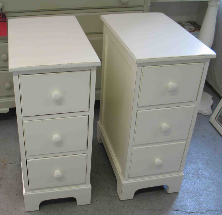 Ultra Narrow Tall White End Table With Storage Three Drawers