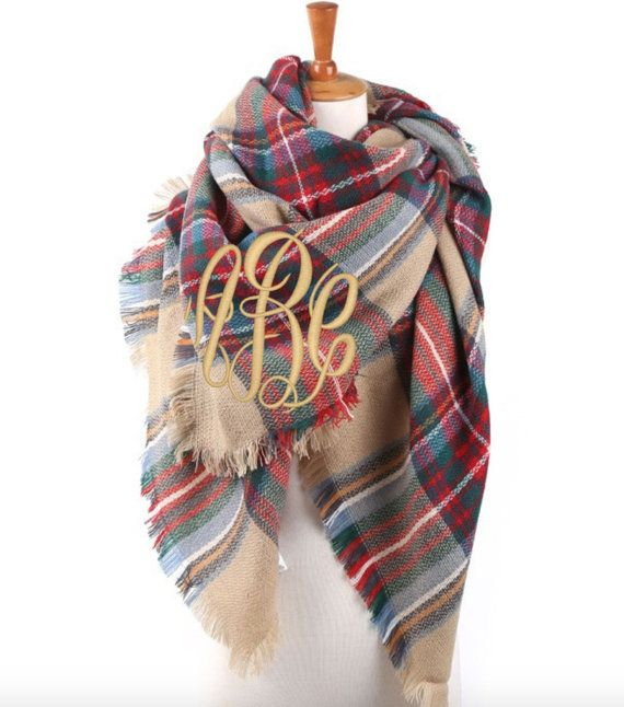 NEW Monogrammed Plaid Blanket Wrap Scarf Font by MONOGRAMSINC