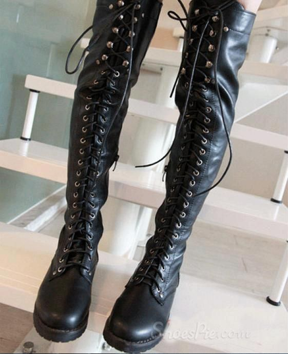 Sexy Black Lace-up Knee High Flat Boots | Calçat per trepitjar ...