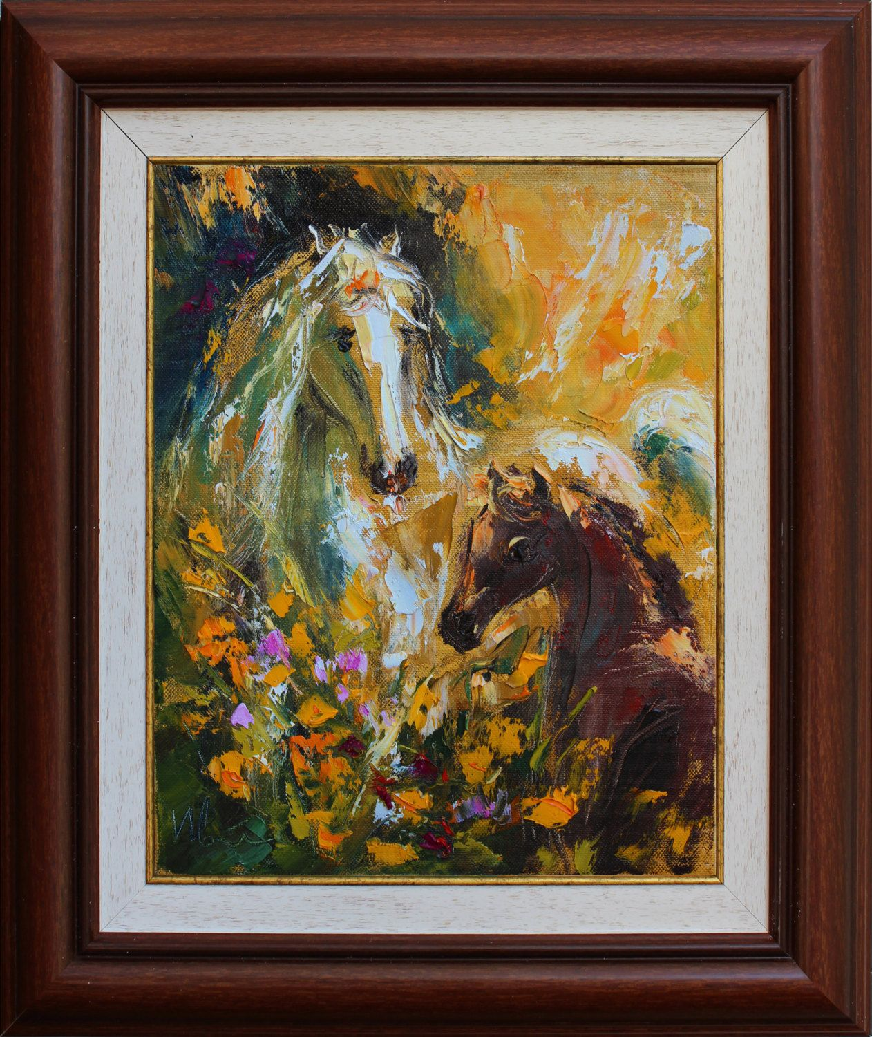 Horse original oil impasto painting canvas palette knife painting
