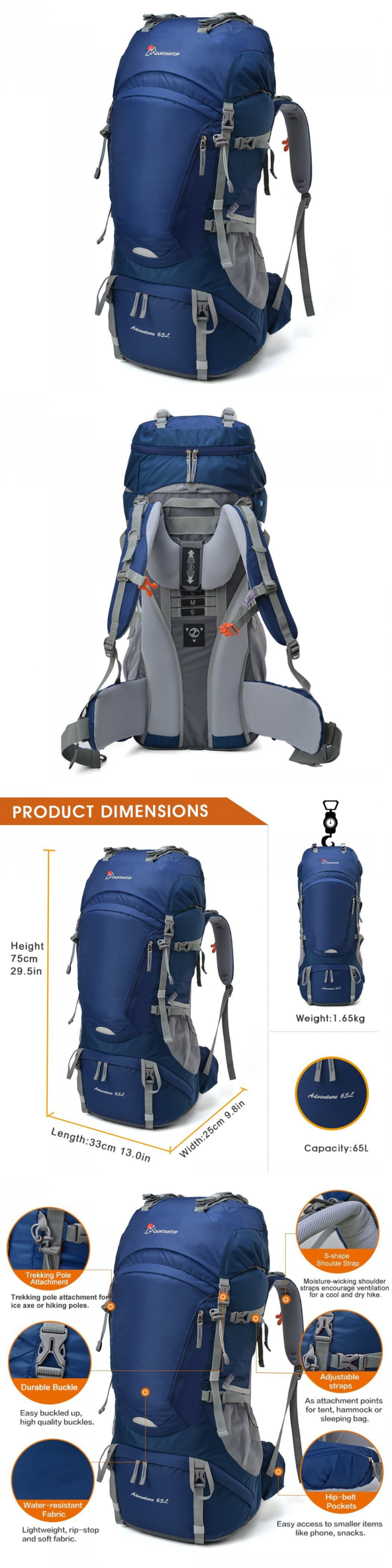 Day Packs 87122  New Mountaintop 65L Internal Frame Backpack  Water-Resistant With Rain Cover d09e02206e