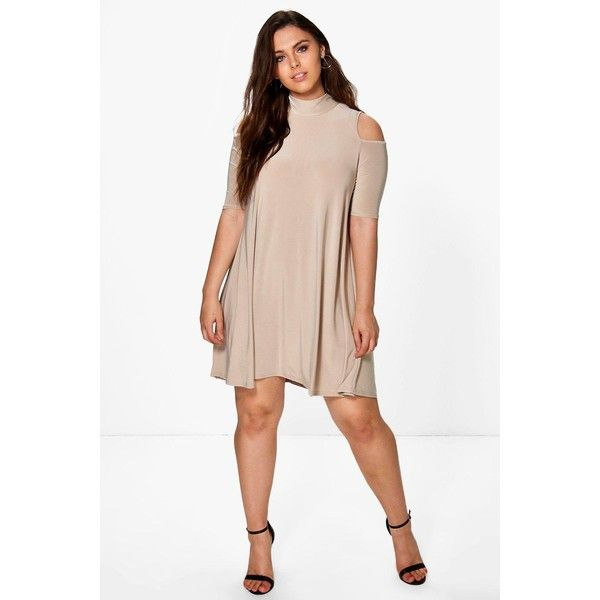 Boohoo Plus Plus Jen Highneck Swing Dress ($26) ❤ liked on Polyvore featuring dresses, camel, white tuxedo, white party dresses, white maxi dress, white cocktail dresses and bodycon maxi dress