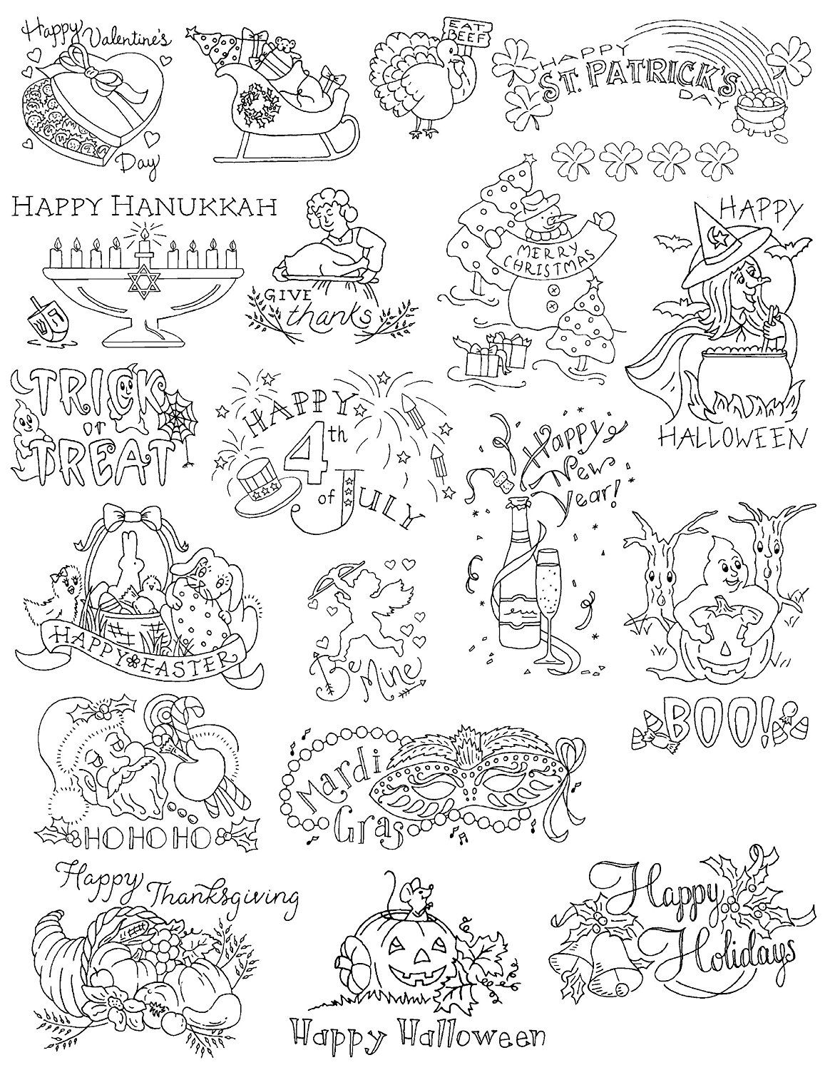 Amazon Com Aunt Martha 39 S A Holiday For Every Season Embroidery Transfer Pattern Book Over 25 Embroidery Transfers Hand Embroidery Designs Coloring Pages