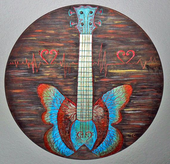 Guitar Painting Carved Wood Burning Butterfly Bass Metallic Acrylics Wall Art Music Guitarist Gifts Heartbeat