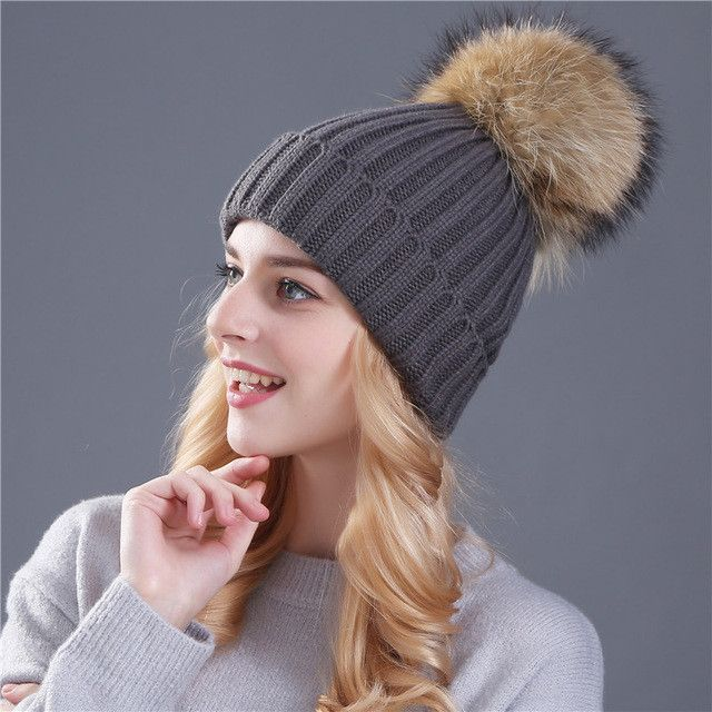ed3598c4 Xthree mink and fox fur ball cap pom poms winter hat for women girl 's hat  knitted beanies cap thick female cap