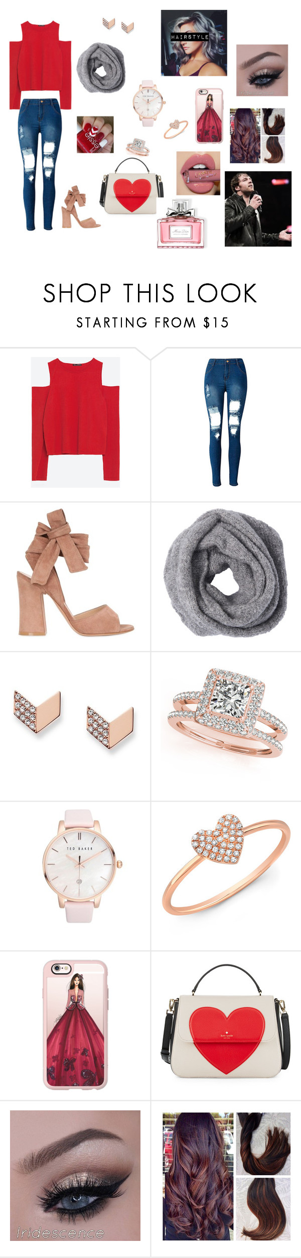 """Obsession #18"" by annaconley on Polyvore featuring Zara, WithChic, Gianvito Rossi, FOSSIL, Allurez, Ted Baker, Anne Sisteron, Casetify, Kate Spade and Christian Dior"