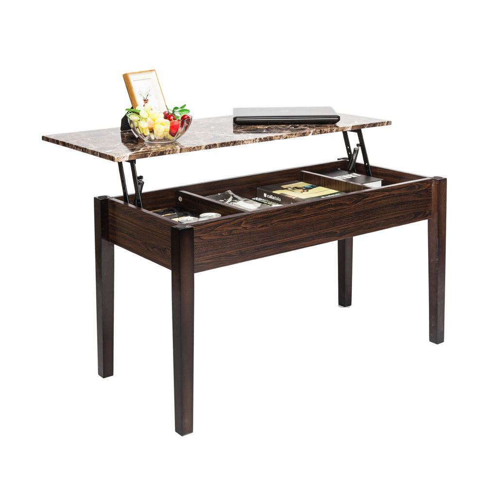 Lifttop storage coffee table faux marble tea desk brown tables