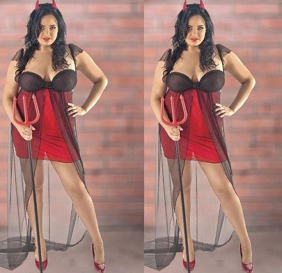 Sexy bata de casa disfraces diablo Sexy mujer ropa por SizePlusShop