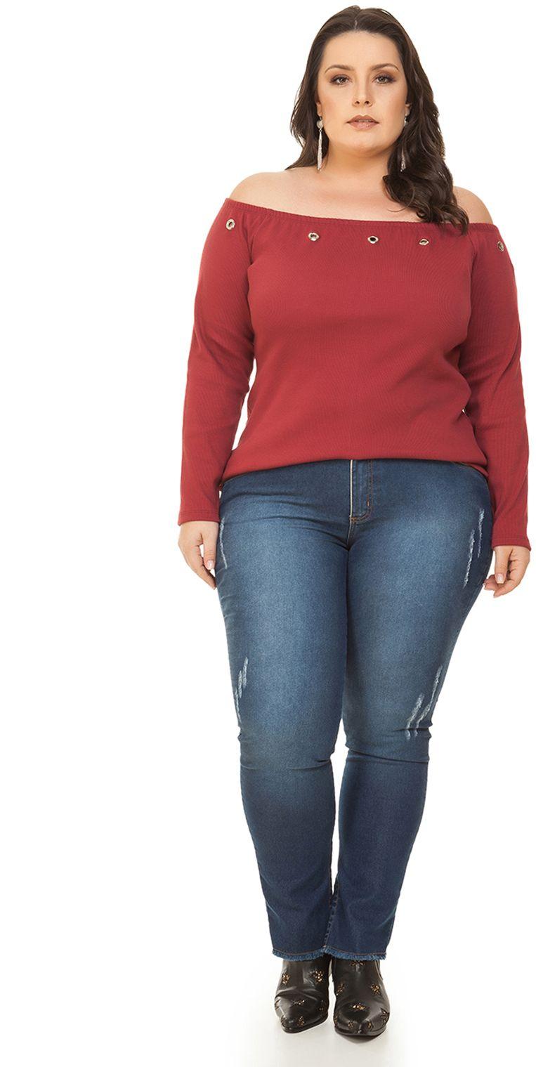 Blusa Plus Size de manga longa vermelho b5afe84f06ce3