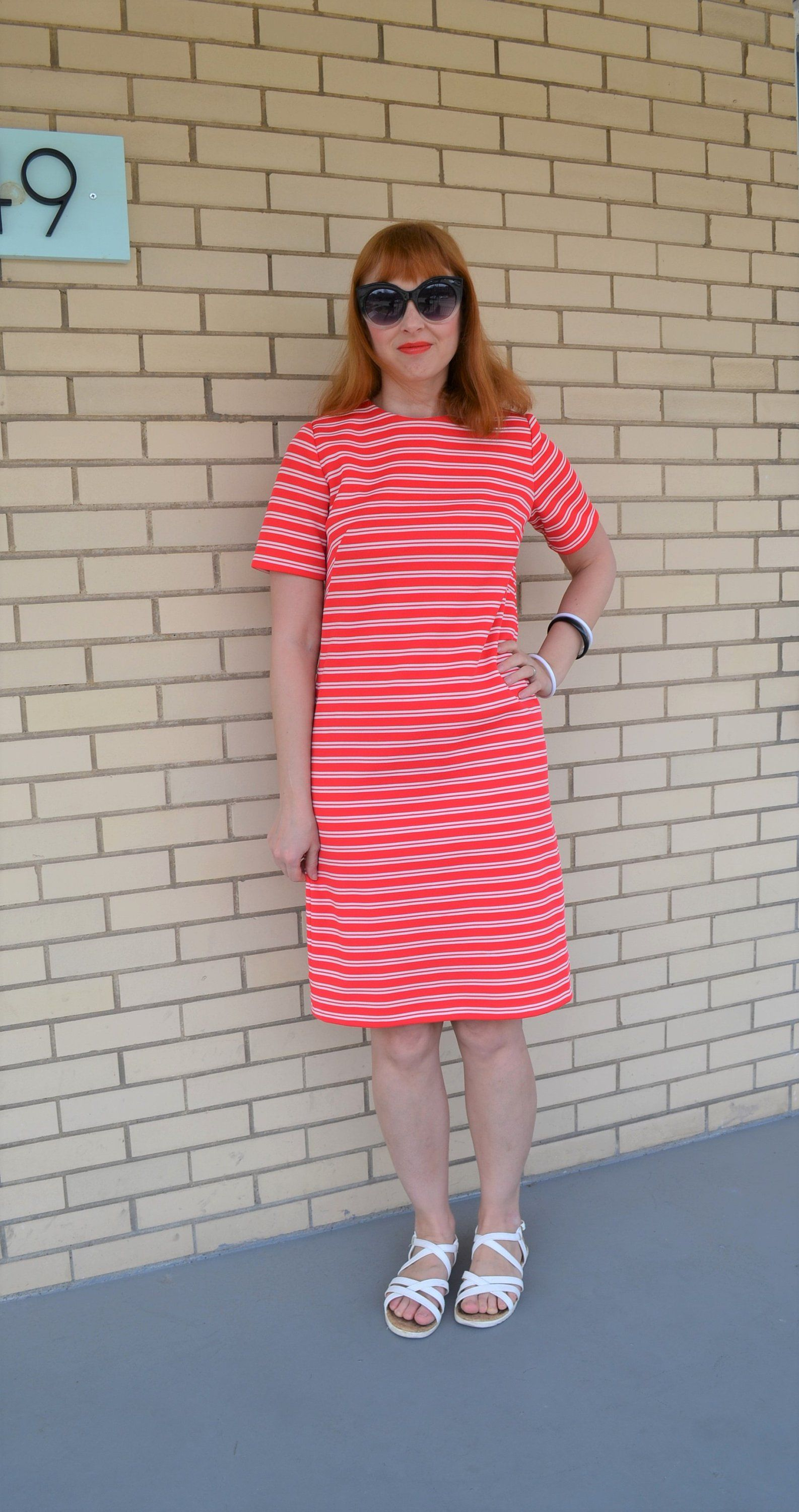 S a line dress with stripes size small red knee length dress