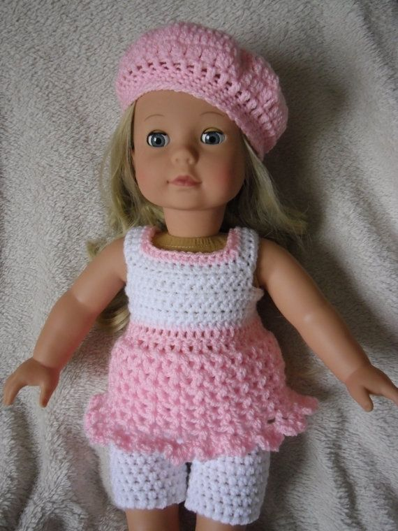 Crochet pattern for dress shorts and hat for 18 inch doll | Ropa ...