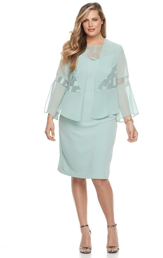 9ea8c55d3bf4 Maya Brooke Plus Size Le Bos Sheath Dress & Georgette Jacket Set