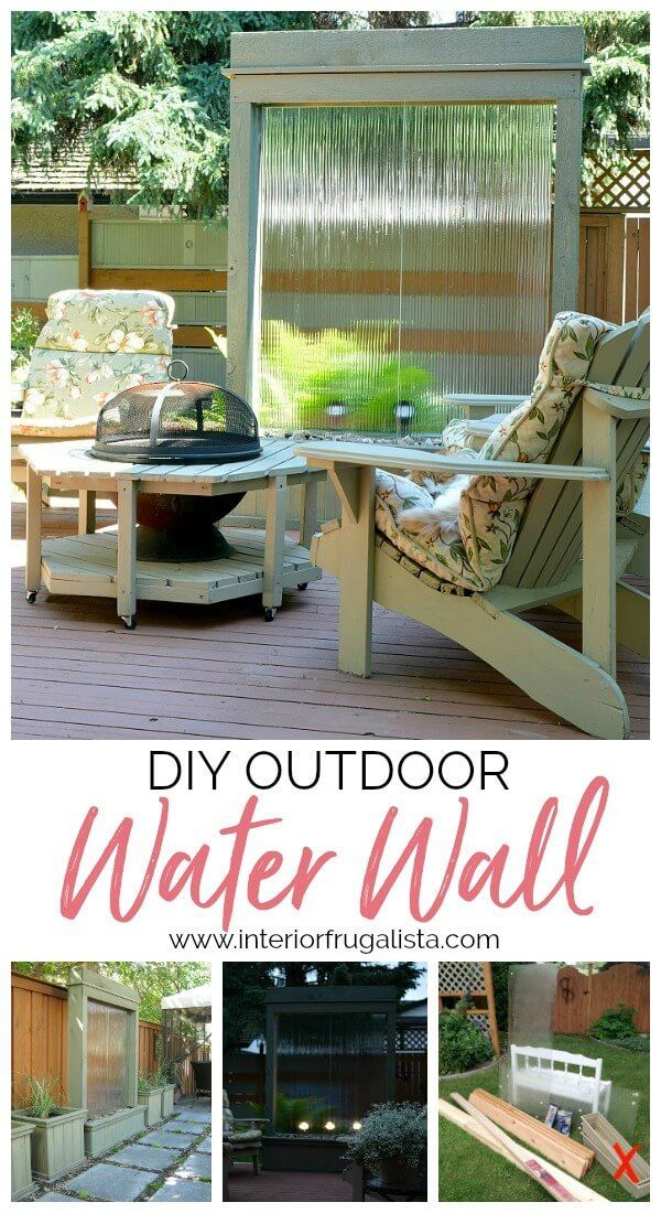 A budget-friendly water feature built for under $300! The sound of trickling water from this DIY Water Wall is so relaxing and perfect for a backyard deck, patio, or porch. #waterfeatures #waterwalls #waterfountain #outdoorliving #gardenideas #patioideas #deckideas #balconygardensideas #porchideas #diyoutdoorprojects