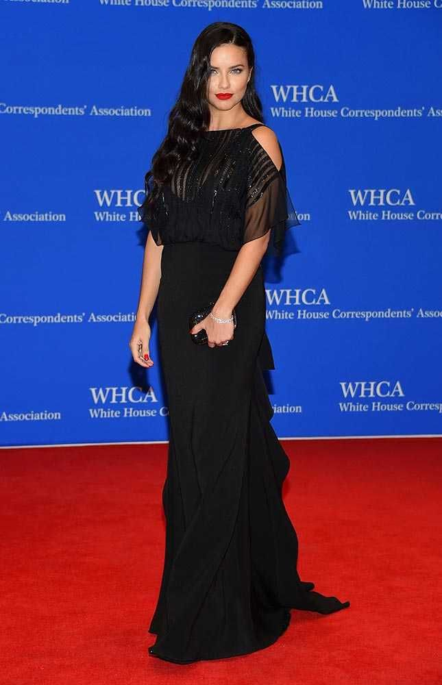 Adriana Lima, in Bibhu Mohapatra, attends the 101st Annual White House Correspondents' Dinner in Washington, April 2015.