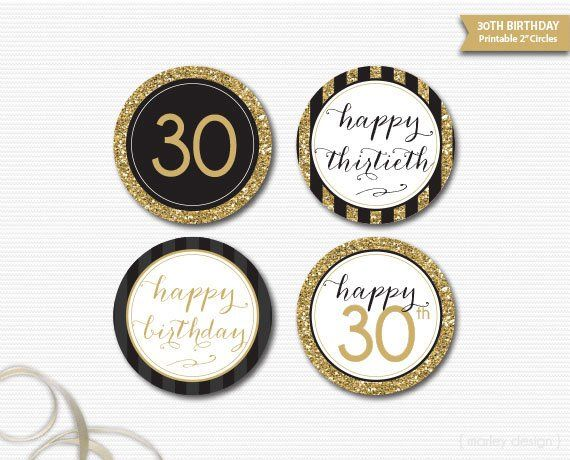 30th Birthday Toppers Printable Black Gold Glitter Decorations Decor Cupcake 90th