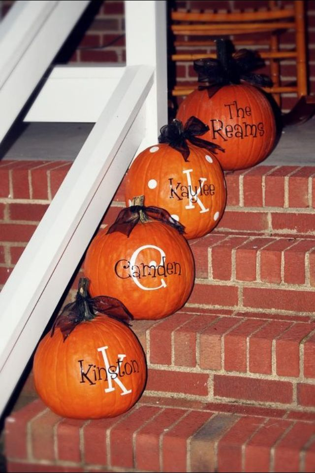 Our family pumpkins :) vinyl & ribbon Fall decor  You can purchase them @ https://www.etsy.com/listing/197350157/pumpkin-decals