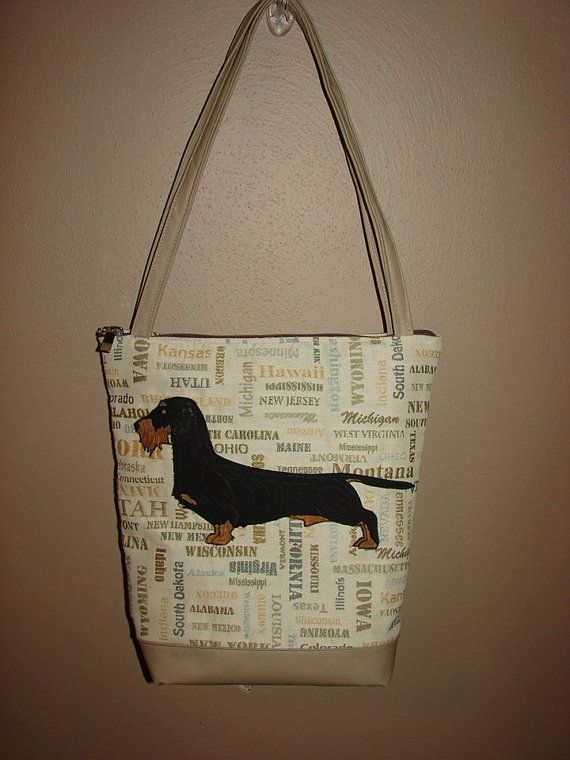 Black & Tan colored wirehaired Dachshund Tote (Knight across America) by StitchedByShawn, $65.00