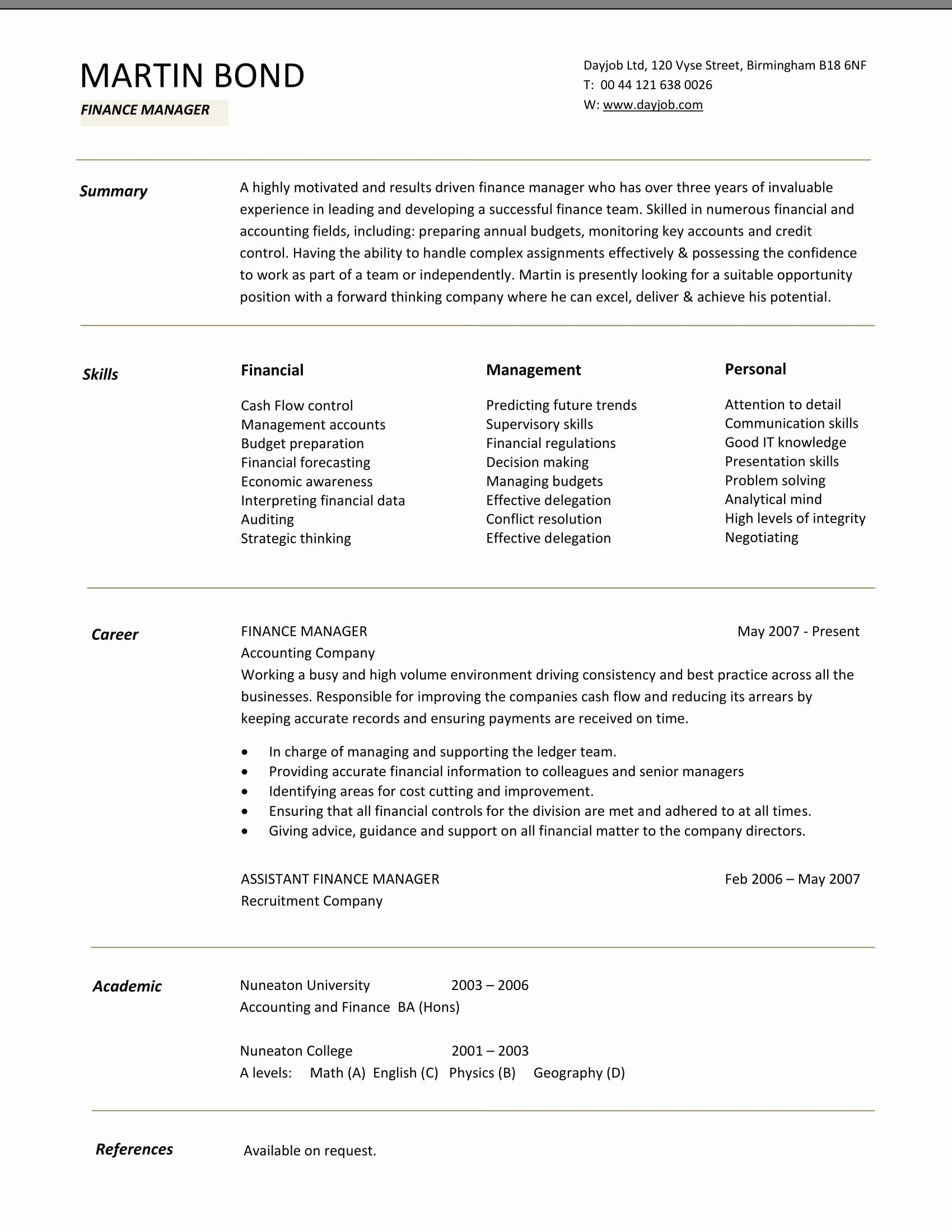 Finance Resume Template Word Beautiful 24 Best Finance Resume