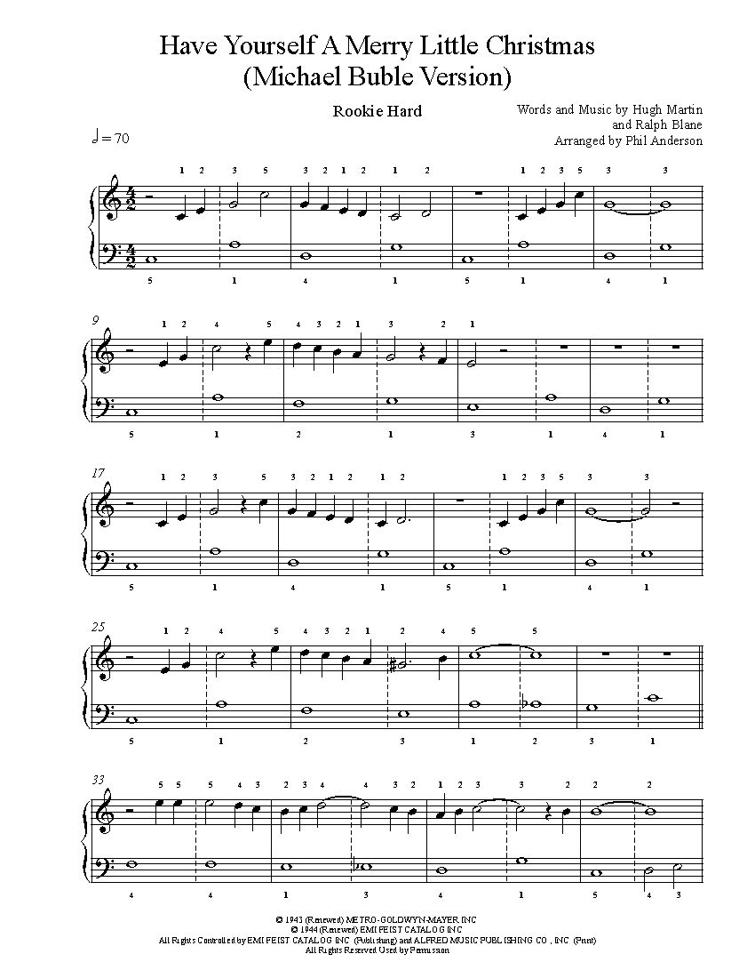 Have Yourself A Merry Little Christmas by Michael Buble Piano Sheet ...