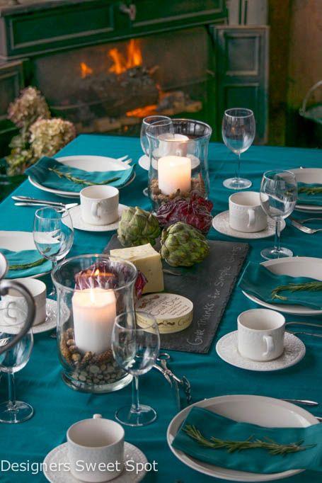 Teal Thanksgiving Decor Fall Table Decor Decor Fall Table