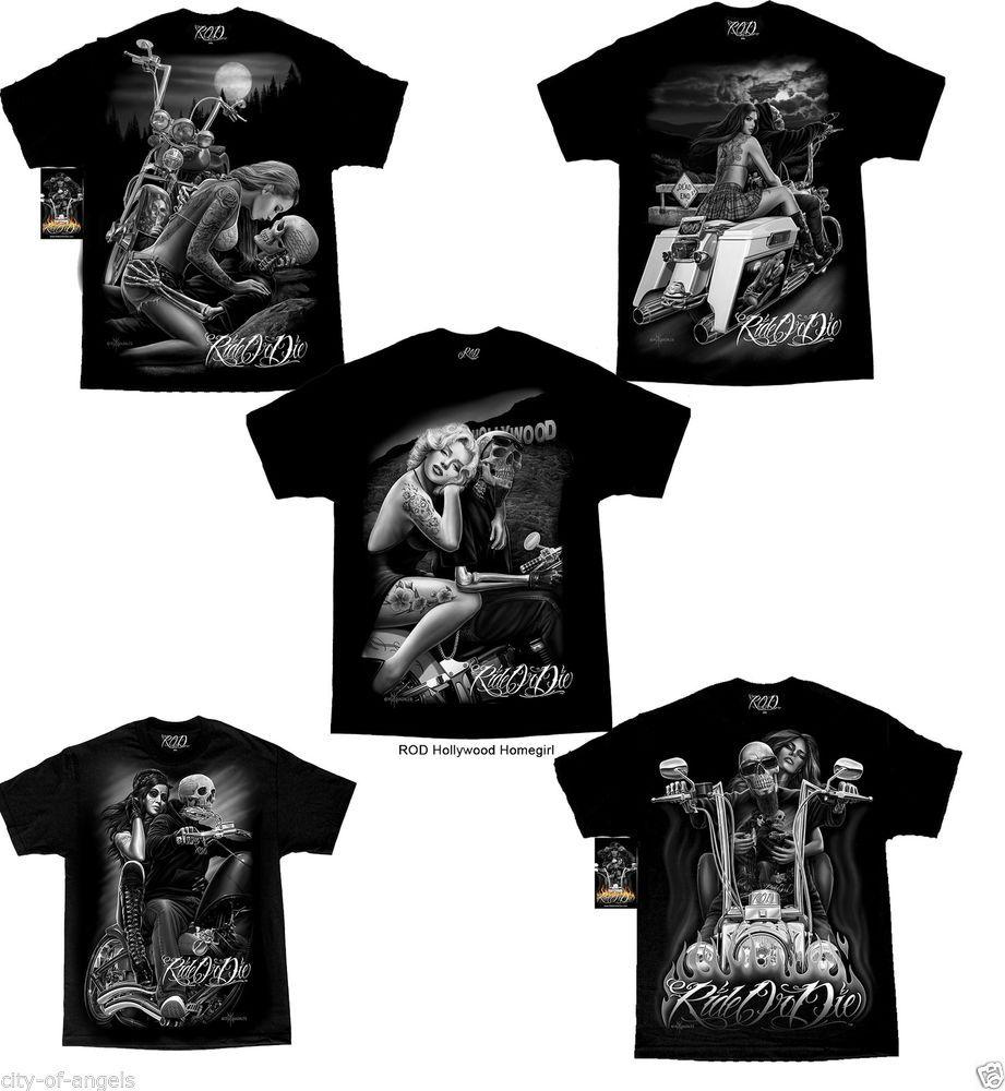 Mens T-Shirt Biker Motorbike Gothic  T-Shirt Skull And Chains