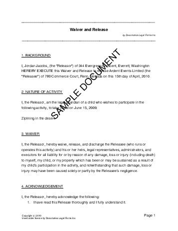 Waiver and Release (USA) - Legal Templates - Agreements, Contracts - new sample letter for cancellation of admission