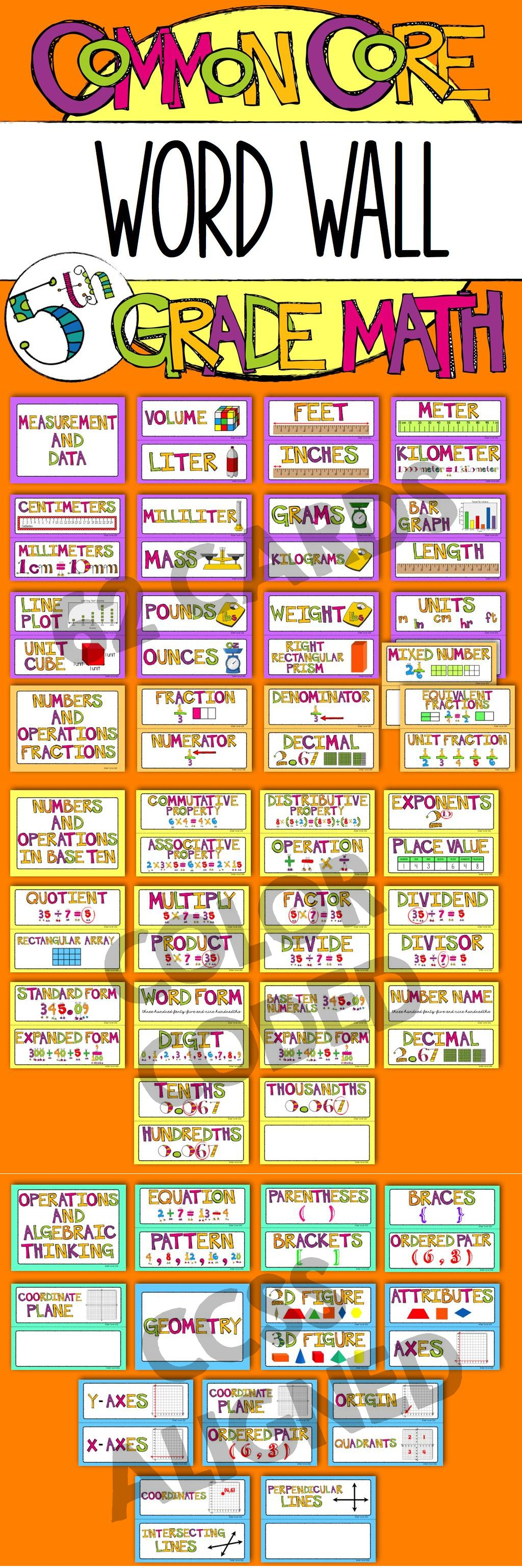 5th Grade Common Core Math Vocabulary - WORD WALL | Common core ...