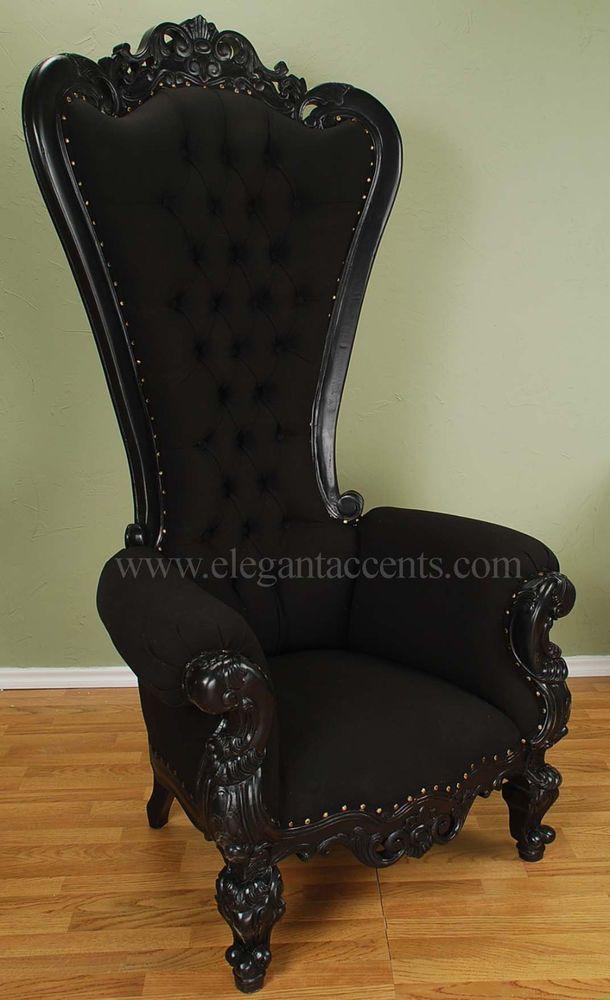 Carved Mahogany Louis XV Beregere Armchair Regal Throne Chair Black Cloth