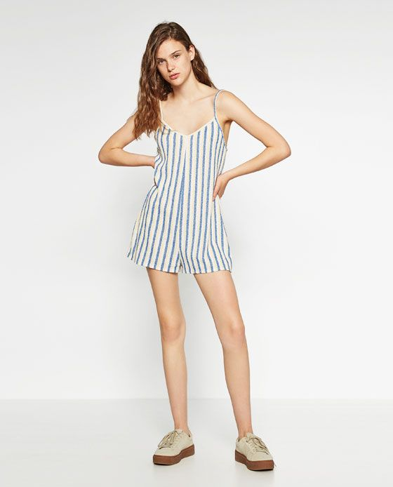 d4edf590 Image 1 of SHORT STRIPED JUMPSUIT from Zara | Jumpsuits | Striped ...