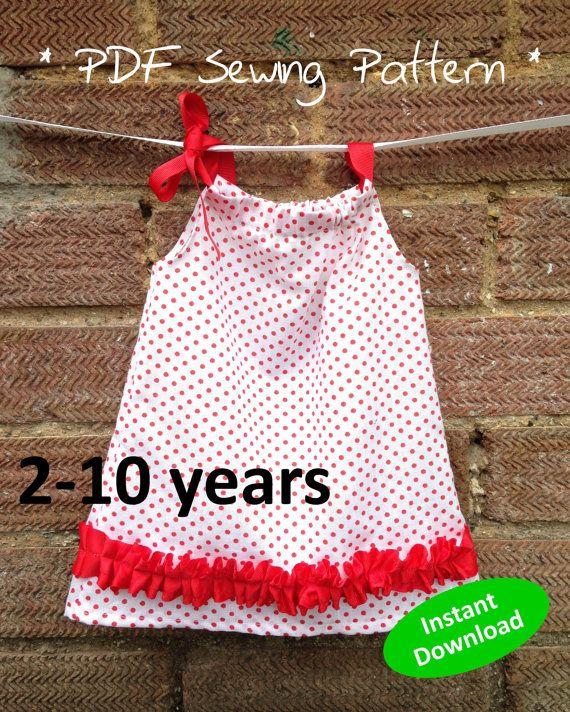 Cute Girl\'s Pillowcase Top PDF sewing pattern for ages 2 to 12 years ...