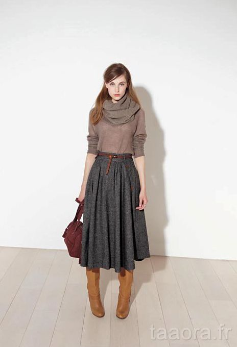 jupe longue tendance automne hiver 2011 2012 jupe midi fashion mode pinterest jupe. Black Bedroom Furniture Sets. Home Design Ideas
