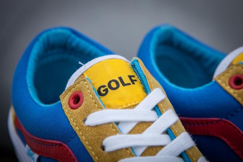 607b205a9eb0 Vans GOLF WANG Old Skool Pro Classic Tan True red Blue Mens Shoes ...