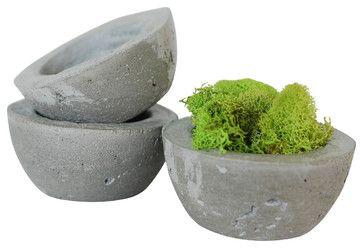 Set of 3 - Concrete Decorative Bowl or Planter - Succulent Planter - Ecofriendly industrial-indoor-pots-and-planters