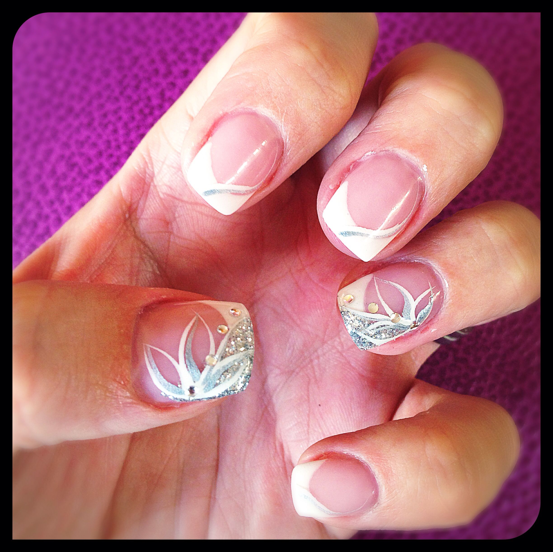 Nail Art Wedding Silver White Neutral