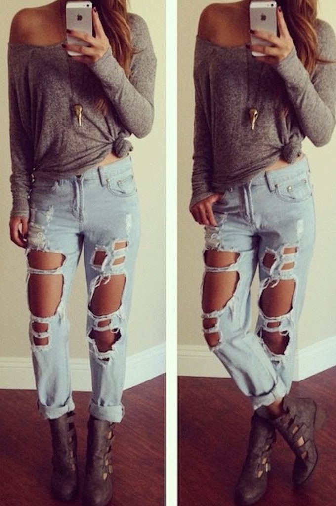 Reverse Destroyed Boyfriend Jeans | [Fashion] Trends | Pinterest ...