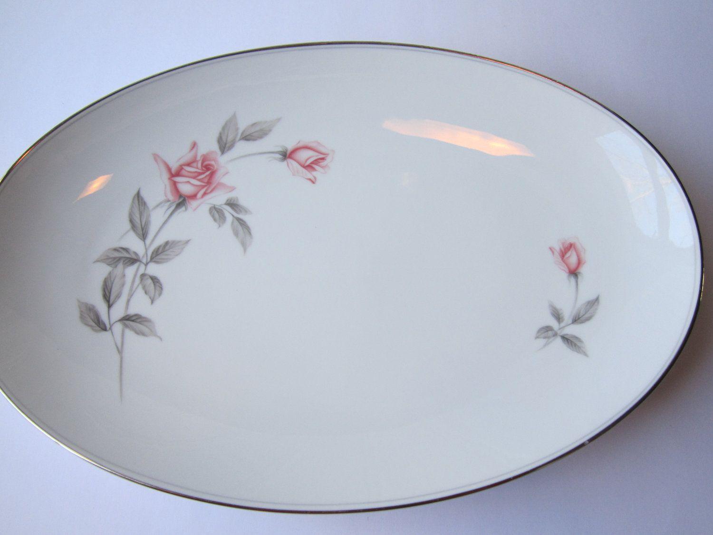 Elegant Vintage Noritake Rosemarie Pink Gray Rose Large Serving Platter. $44.50, via Etsy.