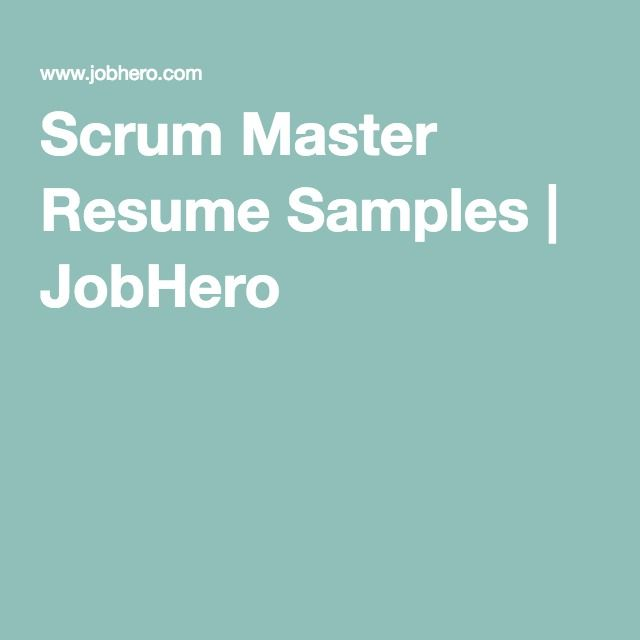 Scrum Master Resume Example  Tips for 2018 - ZipJob