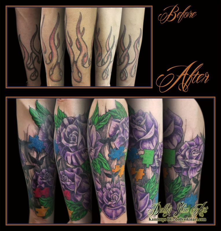 227aeeb0e flowers rose leaves colour cover up purple green red yellow blue black  birds autism puzzle forearm tattoo kamloops dolly's skin art