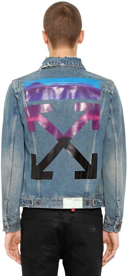 5cc50219f599 Gradient Arrows Denim Jacket