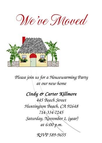Latest addition of we are moving housewarming party invites - promotion announcement samples